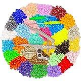 Tomkity 450 Unidades 30 Colores Botones Redondos de T5 Plástico con Snap Alicates Kit para Poner Botones en Casa