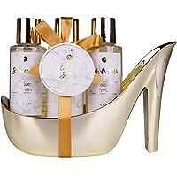 accentra MARBLE Badeset Geschenkset in wunderschönem, goldenem Pumps 4-teiliges Badeset Beautyset Pflegeset Duschset…
