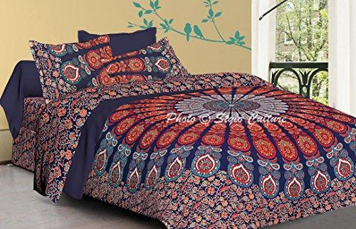 Algodón doble funda nórdica conjunto Mandala con almohada estándar casos pavo real pluma étnica floral azul oscuro edredón indio Doona cubierta By Stylo Culture