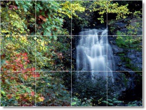 CASCADAS FOTO TILE MURAL W081  24X 32CM CON (12) 8X 8AZULEJOS DE CERAMICA