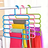INOVERA (LABEL) 5 Layer Pants Clothes Hanger Wardrobe Storage Organizer Rack (Set of 3), 32l x 1b x 33h cm (Assorted…