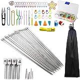 Anyasen 80 piezas Kit de tejer Kit de Ganchillos Accesorios Agujas de Tejer Kit Agujas de punto Agujas de Ganchillos para Gan
