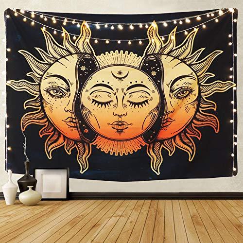 Lomohoo Tapiz Sol y Luna Psicodélico Tapiz de Pared Hippie Mandala De