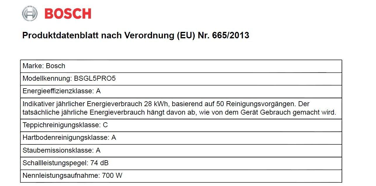 Bosch BSGL5PRO5 Bodenstaubsauger Home Professional (EEK A mit Beutel, QuattroPower System, Gewebeschlauch, 15 m…