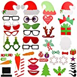 Photo Booth Props, DIY Kit Funny Photo Booth, Colorful Posing Props on a Stick Include Hats,Lips,Glasses Moustaches,Ties for Halloween,Wedding, Christmas, Birthday, Funny Faces Part (50pcs photo prop) …