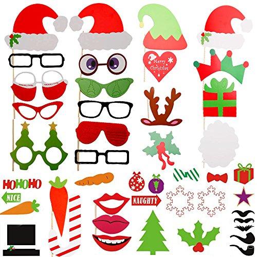 Uten® 50 Stück Party Foto Verkleidung, Schnurrbart Lippen Brille Hüten SchleifeBooth Props Set, Dekoration Schmuck Set, DIY Maske für Weihnachten, Christmas Party, Maskerade-Party, Halloween, Hochzeit, (Weihnachten Masken)