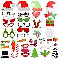ZOGIN Navidad Kit de Accesorios Photocalls Máscaras Disfrazadas de Mascarada con Bigotes, Labios, Corbatas, Gafas y Sombreros Para Fiesta Mascarada, Fiesta de Navidad, Bodas, Aniversarios, Cumpleaños - 50 Piezas