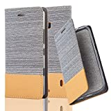 Cadorabo Hülle für Nokia Lumia 929/930 - Hülle in HELL GRAU BRAUN – Handyhülle mit Standfunktion und Kartenfach im Stoff Design - Case Cover Schutzhülle Etui Tasche Book