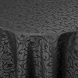 Tischdecke Damast ELISA mit Saum - Eckig Rund Oval - Farbe und Größe wählbar - Premium Qualität -   Oval 160x220 cm schwarz  