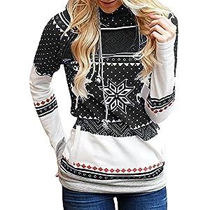 Tomwell Damen Weihnachten Hoodie Schnee Kapuzenpullover Weihnachten Langarm Kapuzenshirt Lässig Sweatshirt Pullover Bluse