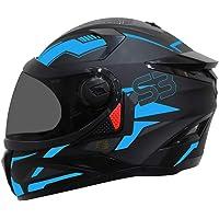SBH-17 Terminator Full Face Graphic Helmet (Medium 580 MM, Matt Black Fluo Blue with Smoke Visor)