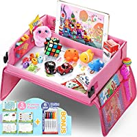 lenbest Pink Car Play Tray for Kids, Snack & Play Travel Tray with Dry Erase Top & 16 Mesh Pockets Organiser Bag Car Seat Activity Trays for Car/Stroller/Plane