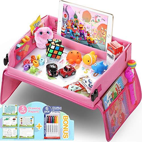 Vassoio di Viaggio per Auto da Toddler, Lenbest Travel Snack e Play Tray da Viaggio, Support per Bambini - Auto, Vassoio, Passeggino - Può Disegnare Sulla Parte Superiore - Rosa