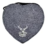 Herz Trachtentasche mit Hirsch Dunkelgrau