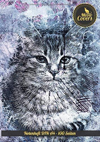 Meow Covers Notenheft DIN A4 - 100 Seiten: Perfekt für das aufschreiben von Noten, Gitarre, Klavier, Flöte, Oboe, Geige - perfekt für den Musikunterricht