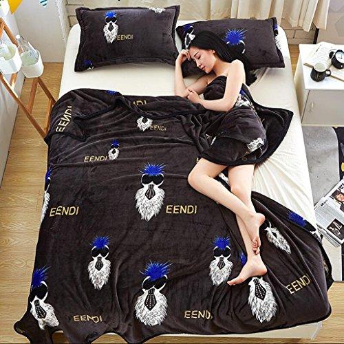 Xuan - worth having Braun Grau Tier Bild Winter Decke Quilt Verdickung Schlafsaal Studenten Blätter Flanell Nap Nap ( größe : 180*200cm )