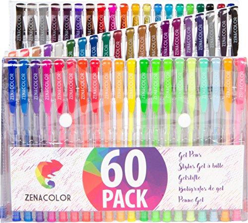 60 bolígrafos de gel Zenacolor con estuche - Set extragrande - 60 colores únicos (sin duplicados) - con tinta de flujo continuo de calidad superior - perfectos para libros de coloración para adultos