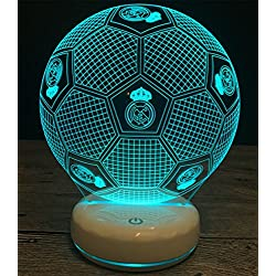 MOQJ Base de Porcelana Blanca Real Madrid Fútbol Colorful Touch 3D Night Light Lámpara de cabecera USB Acrylic Vision Lámparas de Mesa Estereoscópicas Dormitorio Head Laser Grabado
