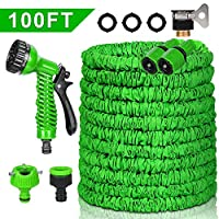 100FT Garden Hose,Expandable Garden Hose,Pmty 100FT No-Kink Flexible Water Hose with Double Latex Core,3/4 Solid Brass Fittings,Extra Strength Fabric