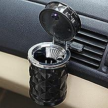EarthSafe® Cigarrillo Cenicero para coche, portátil fresco del cigarrillo de diamantes de talla Cara Auto Holder Copa con luz LED (Negro)