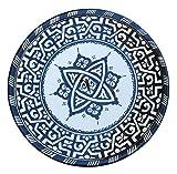 Marokkanischer Teller Schwarz Weiß | bunte marokkanische Keramik Teller bunt aus Marokko | Große Keramikschalen flach Geschirr aus dem Orient handbemalt