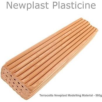 3 Blocks - 1.5KG Terracotta Newplast Plasticine Modelling Clay Non Toxic Moulding Material Animators Choice Non Hardening Bar