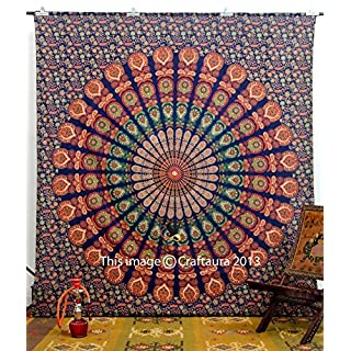 Handicrunch Indian Peacock Deep Blue Hippie Boho Mandala Meditation Tapestry Tapestry Indian Tapisserie Wand-Kunst-86x94