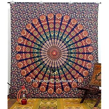 "Handicrunch Indian Peacock Deep Blue Hippie Boho Mandala Meditation Tapestry Tapestry Indian Tapisserie Wand-Kunst-86x94 ""In Bhagyoday"