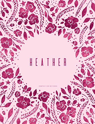 Heather - Composition Notebook: Dusty Pink And Plum Floral Softcover, Letter Size 8.5 x 11, College Ruled -
