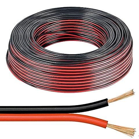 Câble pour haut-parleur Noir et Rouge 2x 0,5mm fil Audio
