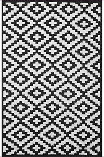 Green Decore Wendbarer Öko-Teppich aus recyceltem Kunststoff (Plastik) für Innen und Außen/Federleicht - 70 x 180 cm Schwarz/Weiß -