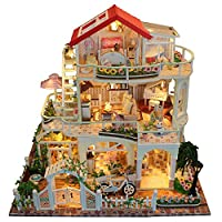 Kapokilly DIY Wooden Doll House,3D Wooden House Room DIY Miniature Dollhouse Kit Wooden DIY Dollhouse Kit DIY Wooden DollHouse Kit Set Of DIY Cottage,Luxurious 3 Layers Cottage 34×30×24cm