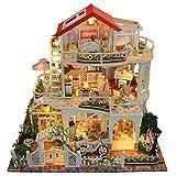 MRlegendary Casa delle Bambole in Miniatura Casa Fai-da-Te con Luce a LED, Tre Piani Kit casa delle Bambole Set di Modelli in Legno Creativo Mini Studio Room Regali di Compleanno per Ragazze