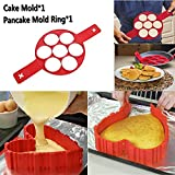 Pancake Mold Ring e 4x Silicone Cake Mold Magic - Crea pancake, uova, hash brown e brownies perfetti in uno strumento antiaderente in silicone. Bakeware da cucina in silicone di alta qualità