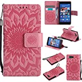 For Sony Xperia Z3 Mini/Compact Case [Pink],Cozy Hut [Wallet Case] Magnetic Flip Book Style Cover Case ,High Quality Classic New design Sunflower Pattern Design Premium PU Leather Folding Wallet Case With [Lanyard Strap] and [Credit Card Slots] Stand Function Folio Protective Holder Perfect Fit For Sony Xperia Z3 Mini/Compact 4,6 inch - Pink