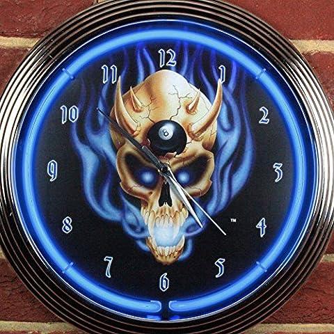 8Ball Totenkopf neon Uhr 240V 3-polig UK-Stecker