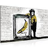 Bild Affe mit Bannane Banksy Street Art Wandbild Vlies - Leinwand Bilder XXL Format Wandbilder Wohnzimmer Wohnung Deko Kunstdrucke Gelb Grau 1 Teilig - MADE IN GERMANY - Fertig zum Aufhängen 302214b
