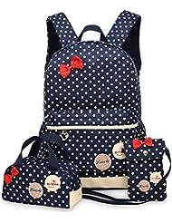 Greeniris fille poids léger sac à dos femme voyage vintage mignonne sac à dos pour les enfants 3pcs