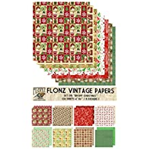 "Paper Pack (24sh 6""x6"") Bright Christmas FLONZ Vintage Paper for Scrapbooking and Craft"