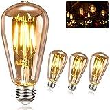 KIPIDA Ampoules Edison LED,Vintage Ampoule E27 ST64 4W Lampe, Rétro Décorative Vintage Filament Edison Ampoule,Antique Lampe
