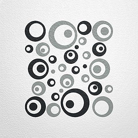 WANDfee® Wandtattoo 50 Retro Kreise AC1010120 Größe Ø 2 x 20 cm, 6 x 15 cm, 10 x 10 cm, 20 x 6 cm, 12 x 3 cm Farbe schwarz