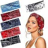 Bascolor Stirnband Damen elastische Haarband Kopfband Weich Turban Stirnband für Alltag Yoga Sport Fitness (6pcs cashew-blume stirnband)