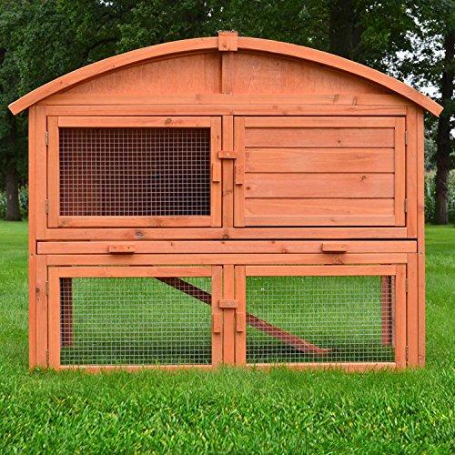 Zooprimus Kaninchenstall 56 Hasenkäfig - RUNDDACH - Meerschweinchen-Villa für Außenbereich (für Kleintiere: Hasen, Kaninchen, Meerschweinchen usw.)
