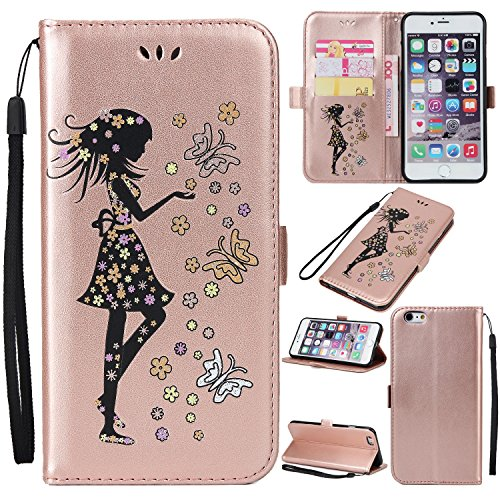 EKINHUI Case Cover Fairy Girl & Flowers Embossing Pattern PU Ledertasche Horizontale Flip Stand Brieftasche Tasche mit Lanyard & Card Slots für iPhone 6 & 6s ( Color : Blue ) Rosegold