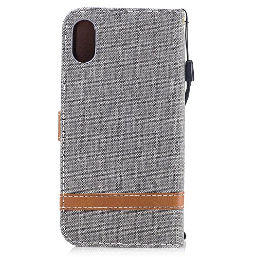 "MOONCASE iPhone X Flip Cover, Weich PU Leder mit Standfunktion Handysocken Built-in Card Holster Folio Brieftasche Hülle Case für iPhone X 5.8"" Blau Grau"