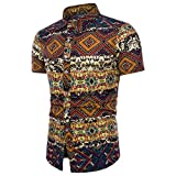 Männer Sommer Top Plus Size Boho Floral Kurzarm Leinen Basic T Shirt Bluse