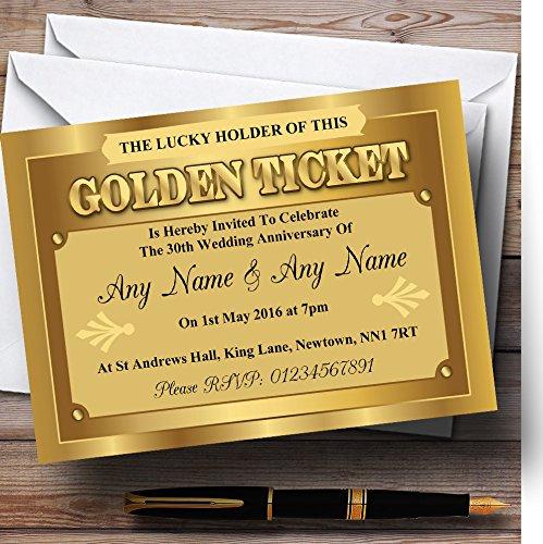 Golden Ticket personalizzato anniversario/inviti festa inviti e buste, 40 Invites & Envelopes