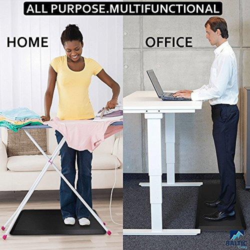 Anti fatigue Mat | Standing Desk Floor Mat | Premium Quality Waterproof Black Large Anti-Slip Mat | Baltic Living� Anti-fatigue Pressure Relief Mat 100 CM x 51 CM