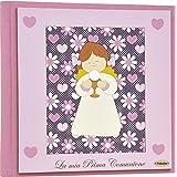Fabula Prima Comunione - Album Portafoto formato 20x17 Angela Calice Fiori - Copertina Rigida 133 Rosa con applicazioni in Legno - Cod. 160069