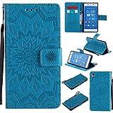 JIALUN-Fall für Sony Für Sony Z4 Fall, mit Lanyard, Card Slot, Magnet Wölbung und Built-in Stent Printing Flat Open The Phone Shell Einfach und Stilvoll (Color : Blue)